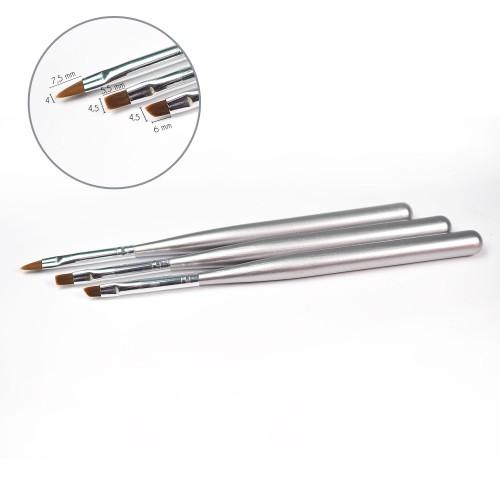 Set di pennelli per nail art a 3 pezzi con punta (sintetico)