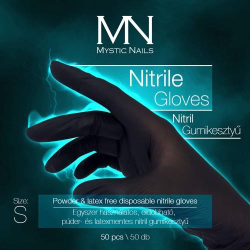 Guanti in nitrile - Disponibile in polvere e lattice, nero - taglia S  - 50 pz/confezione