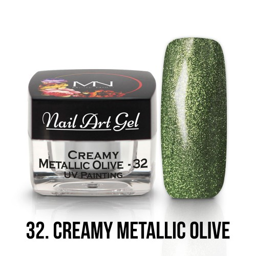 UV Nail Art Gel- 32 - Creamy Metallic Olive - 4g