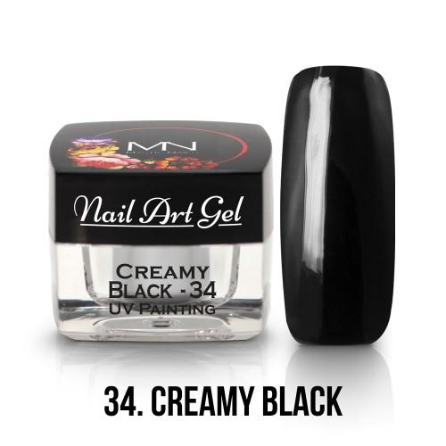 UV Nail Art Gel - 34 - Creamy Black - 4g