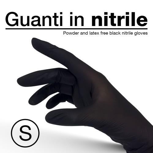 """Guanti in nitrile, colore nero, monouso - taglia """"S"""" - 10 pz/confezione"""